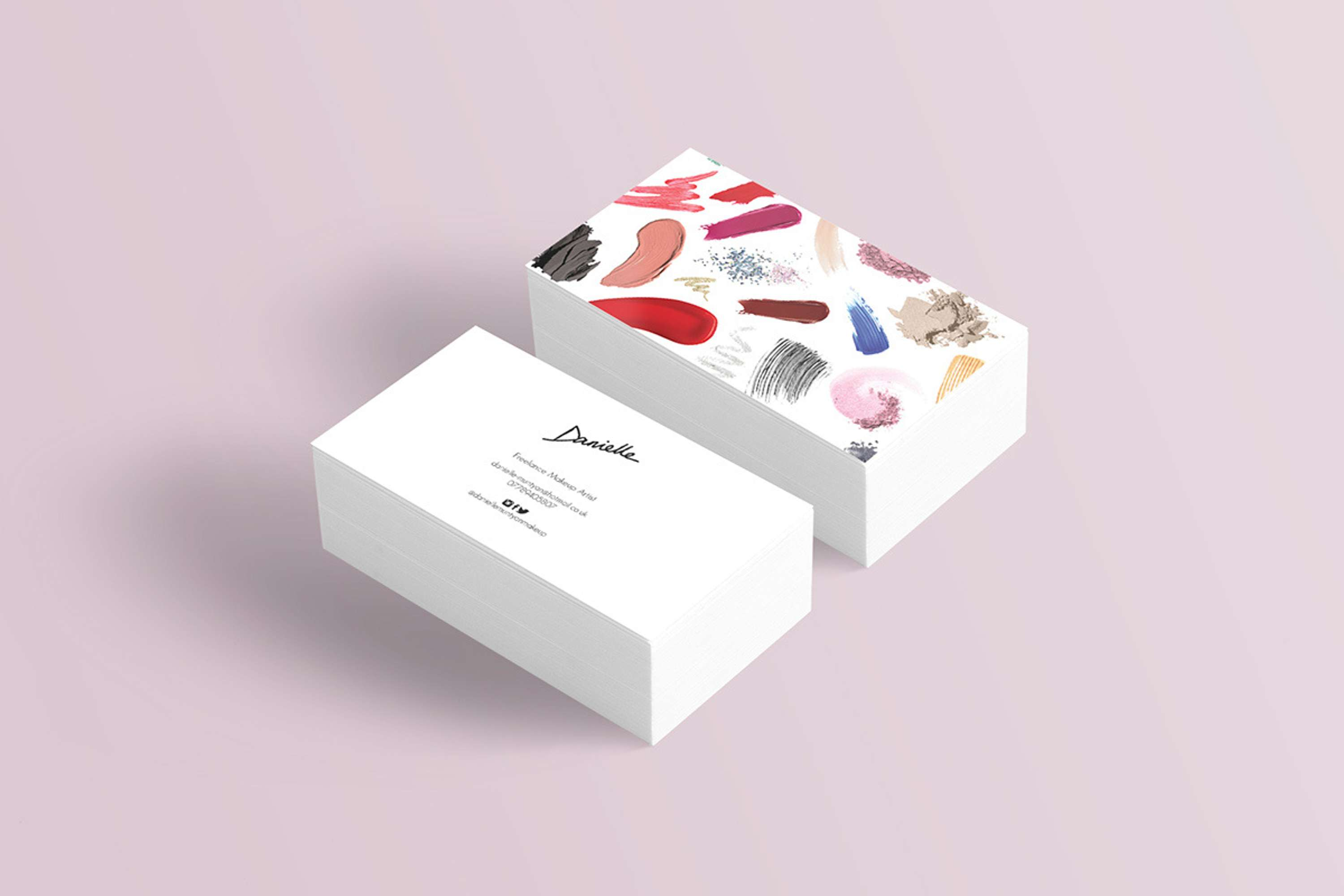 Makeup artist business cards the dots created using swatches of real cosmetics the business cards give a sense of fun playfulness and creativity the main traits of a makeup artist magicingreecefo Images